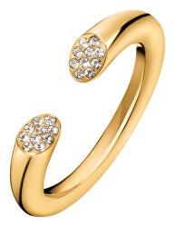 Otvorený pozlátený prsteň s kryštálmi Brilliant KJ8YJR140100
