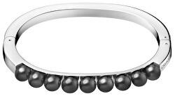 Pevný oceľový náramok s čiernymi perličkami Circling KJAKMD04010