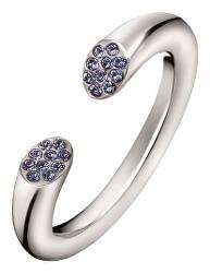 Otvorený oceľový prsteň s kryštálmi Brilliant KJ8YMR0402