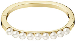 Pevný pozlátený náramok s perličkami Circling KJAKJD14010