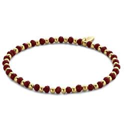 Obrúbený náramok z ocele a prírodného červeného kamene865-180-090646-0000