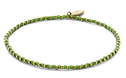 Obrúbený náramok z ocele a prírodného zeleného kameňa 865-180-090654-0000