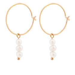 Kruhové pozlátené náušnice s morskými perlami Sea Pearl Mini Hoop náušnice - Gold