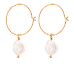 Kruhové pozlátené náušnice s morskými perlami Sea Pearl Mini Hoop náušnice