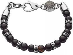 Pánský korálkový náramek s ocelovými ozdobami DX1163040