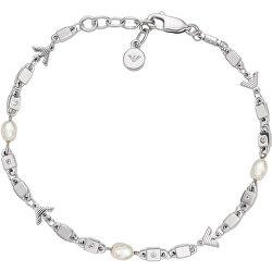 Luxusný dámsky náramok s kryštálmi a perlami EG3474040