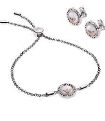 Luxusná sada oceľových šperkov EGS2652040 (náušnice, náramok)