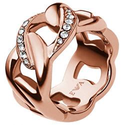 Růžově zlacený ocelový prsten EGS1990221