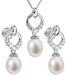 Luxusná strieborná súprava s pravými perlami 29015.1 (náušnice, retiazka, prívesok)
