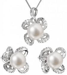 Luxusná strieborná súprava s pravými perlami Pavona 29016.1 (náušnice, retiazka, prívesok)