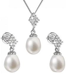 Luxusná strieborná súprava s pravými perlami Pavona 29018.1 (náušnice, retiazka, prívesok)