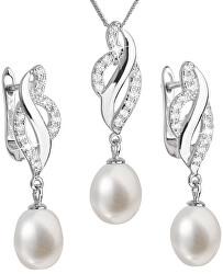 Luxusní stříbrná souprava s pravými perlami Pavona 29021.1 (náušnice, řetízek, přívěsek)