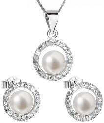 Luxusná strieborná súprava s pravými perlami Pavona 29023.1 (náušnice, retiazka, prívesok)
