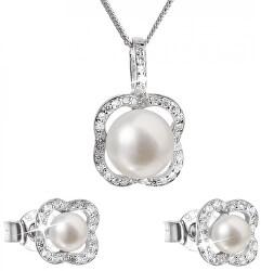 Luxusní stříbrná souprava s pravými perlami Pavona 29024.1 (náušnice, řetízek, přívěsek)
