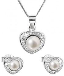 Luxusná strieborná súprava s pravými perlami Pavona 29025.1 (náušnice, retiazka, prívesok)