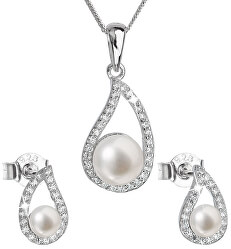 Luxusná strieborná súprava s pravými perlami Pavona 29027.1 (náušnice, retiazka, prívesok)