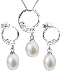 Luxusní stříbrná souprava s pravými perlami Pavona 29030.1 (náušnice, řetízek, přívěsek)