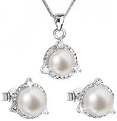 Luxusní stříbrná souprava s pravými perlami Pavona 29033.1 (náušnice, řetízek, přívěsek)