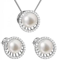 Luxusná strieborná súprava s pravými perlami Pavona 29034.1 (náušnice, retiazka, prívesok)