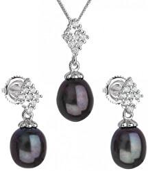Luxusná strieborná súprava s pravými tahiti perlami Pavona 29018.3 (náušnice, retiazka, prívesok)