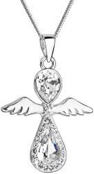 Nežný strieborný náhrdelník Anjel s kryštálmi Swarovski 32072.1 (retiazka, prívesok)