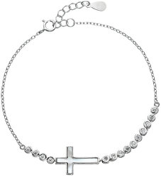 Něžný stříbrný náramek se zirkony Křížek 13016.1