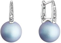Prekrásne strieborné náušnice so svetlo modrou syntetickou perlou 31301.3