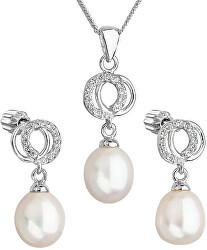 Prekrásna perličková sada so zirkónmi Pavona 29003.1 biela (náušnice, retiazka, prívesok)