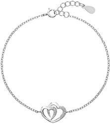 Romantický stříbrný náramek Dvě srdce se zirkony 13011.1