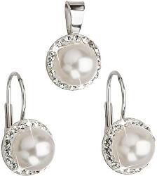 Sada s perlami a kryštály Swarovski 39091.1 biela (náušnice, prívesok)