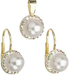Sada s perlami a kryštály Swarovski 39091.6 luminous green (náušnice, prívesok)