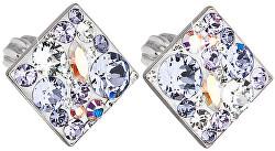 Slušivé čtvercové náušnice s krystaly Violet 31169.3