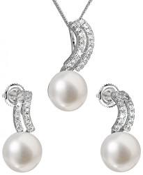 Souprava stříbrných šperků s pravými perlami Pavona 29037.1 (náušnice, řetízek, přívěsek)