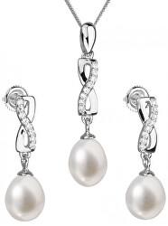 Souprava stříbrných šperků s pravými perlami Pavona 29041.1 (náušnice, řetízek, přívěsek)