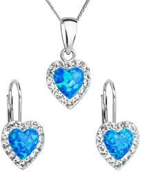 Srdiečková súprava šperkov 39161.1 & blue s.opal (náušnice, retiazka, prívesok)