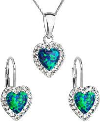 Srdíčková souprava šperků 39161.1 & green s.opal (náušnice, řetízek, přívěsek)