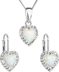 Srdíčková souprava šperků 39161.1 & white s.opal (náušnice, řetízek, přívěsek)