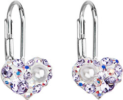 Srdiečkové náušnice s kryštálmi Swarovski 31125.9 violet