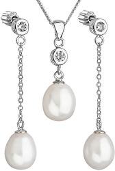 Strieborná perlová sada so zirkónmi Pavona 29005.1 AAA biela (náušnice, retiazka, prívesok)