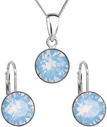 Stříbrná souprava šperků s krystaly Swarovski 39140.7 blue (náušnice, řetízek, přívěsek)