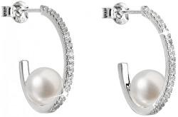 Strieborné náušnice kruhy s pravými perlami Pavona 21019.1
