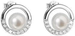 Strieborné náušnice kôstky s pravými perlami Pavona 21022.1