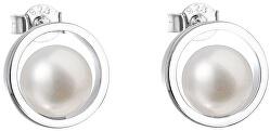 Stříbrné náušnice pecky s pravými perlami Pavona 21041.1