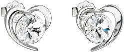 Strieborné náušnice s kryštálmi Swarovski biele srdce 31259.1