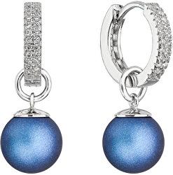 Strieborné náušnice 2v1 s modrými syntetickými perlami a zirkónmi 31298.3