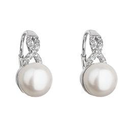 Strieborné náušnice s riečnou perlou 21048.1 biela