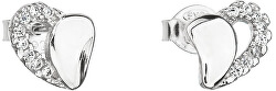 Strieborné náušnice 11020.1 biele srdce