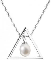 Strieborný náhrdelník s pravou perlou Pavona 22024.1 (retiazka, prívesok)