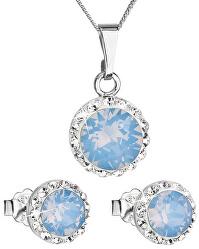 Třpytivá souprava šperků 39152.7 blue (náušnice, řetízek, přívěsek)