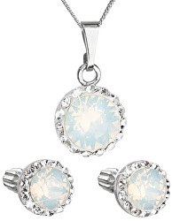 Třpytivá souprava šperků 39352.7 white (náušnice, řetízek, přívěsek)